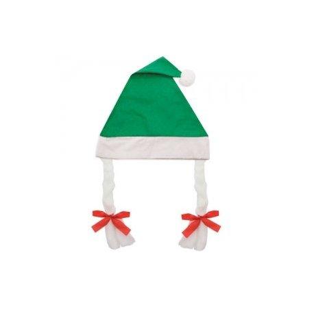 Gorro de Navidad con Trenzas Verde